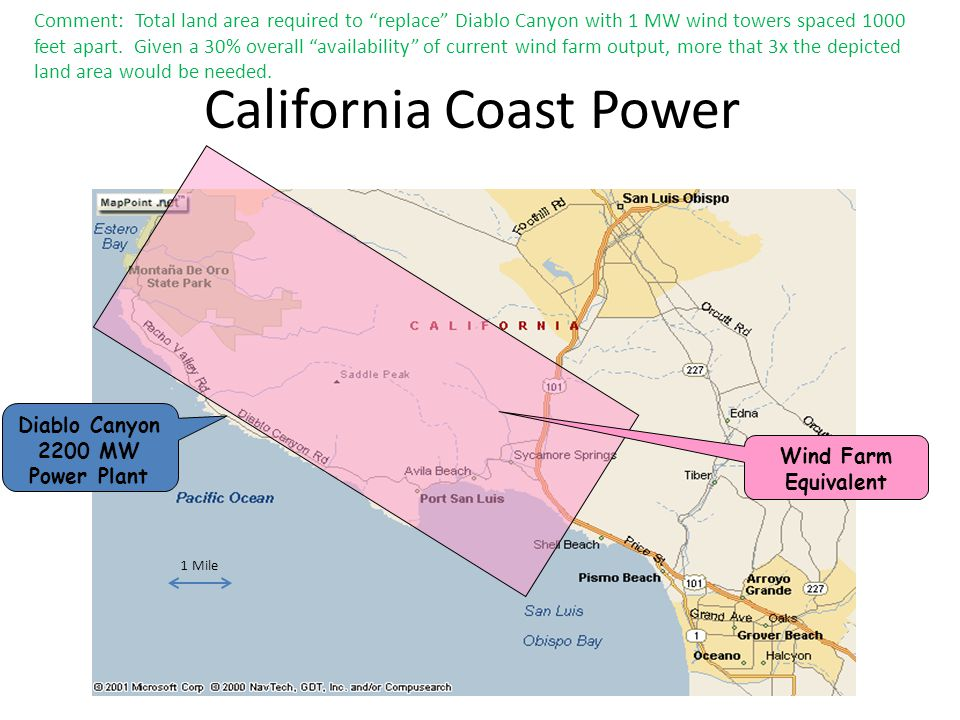 California Coast Power Diablo Canyon 2200 MW Power Plant Wind Farm Equivalent 1 Mile Comment: Total land area required to replace Diablo Canyon with 1 MW wind towers spaced 1000 feet apart.