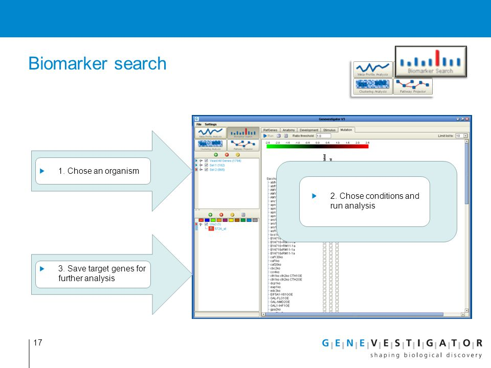 17 Biomarker search 1. Chose an organism 3. Save target genes for further analysis 2. Chose conditions and run analysis