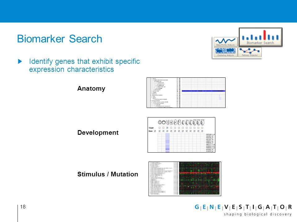 18 Biomarker Search Identify genes that exhibit specific expression characteristics Anatomy Development Stimulus / Mutation