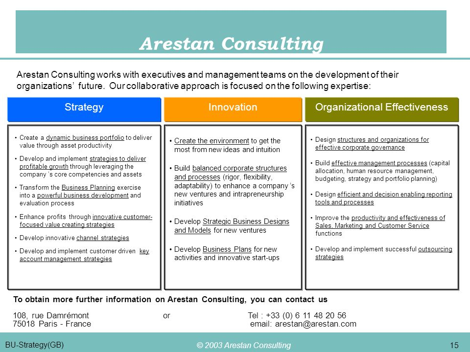 © 2003 Arestan Consulting 15 BU-Strategy(GB) Arestan Consulting StrategyInnovationOrganizational Effectiveness Create the environment to get the most from new ideas and intuition Build balanced corporate structures and processes (rigor, flexibility, adaptability) to enhance a company 's new ventures and intrapreneurship initiatives Develop Strategic Business Designs and Models for new ventures Develop Business Plans for new activities and innovative start-ups Design structures and organizations for effective corporate governance Build effective management processes (capital allocation, human resource management, budgeting, strategy and portfolio planning) Design efficient and decision enabling reporting tools and processes Improve the productivity and effectiveness of Sales, Marketing and Customer Service functions Develop and implement successful outsourcing strategies To obtain more further information on Arestan Consulting, you can contact us 108, rue Damrémont orTel : +33 (0) 6 11 48 20 56 75018 Paris - France email: arestan@arestan.com Create a dynamic business portfolio to deliver value through asset productivity Develop and implement strategies to deliver profitable growth through leveraging the company 's core competencies and assets Transform the Business Planning exercise into a powerful business development and evaluation process Enhance profits through innovative customer- focused value creating strategies Develop innovative channel strategies Develop and implement customer driven key account management strategies Arestan Consulting works with executives and management teams on the development of their organizations' future.