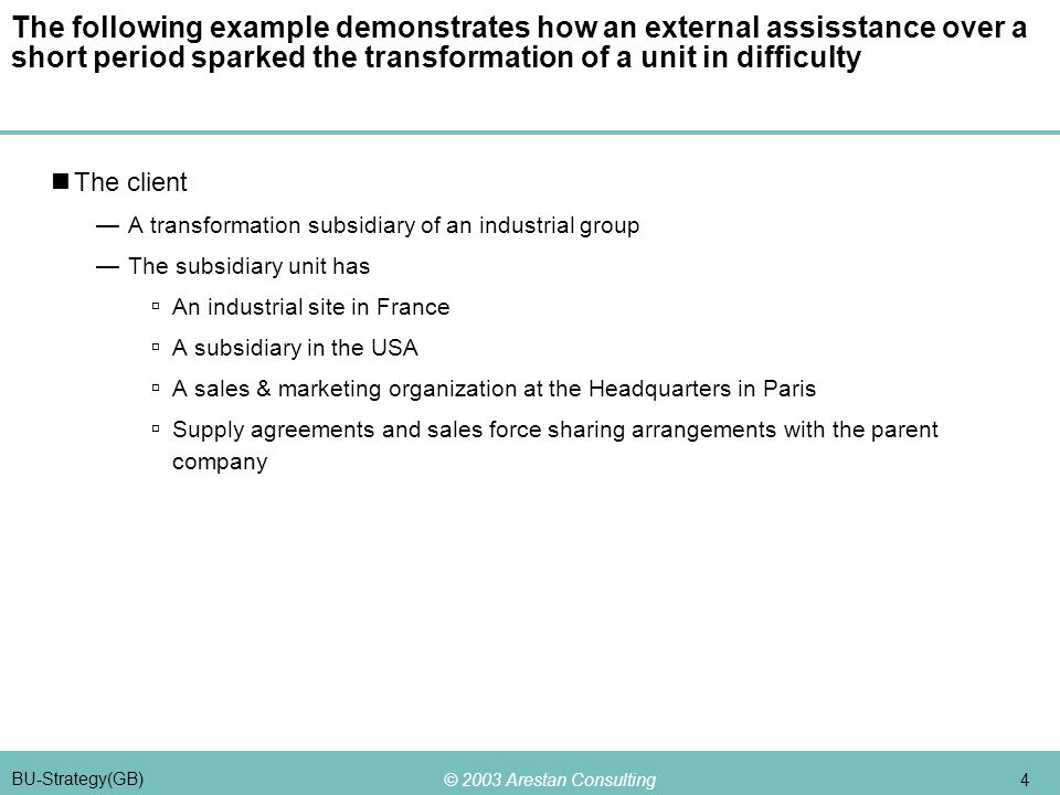 © 2003 Arestan Consulting 4 BU-Strategy(GB) The following example demonstrates how an external assisstance over a short period sparked the transformation of a unit in difficulty The client —A transformation subsidiary of an industrial group —The subsidiary unit has  An industrial site in France  A subsidiary in the USA  A sales & marketing organization at the Headquarters in Paris  Supply agreements and sales force sharing arrangements with the parent company