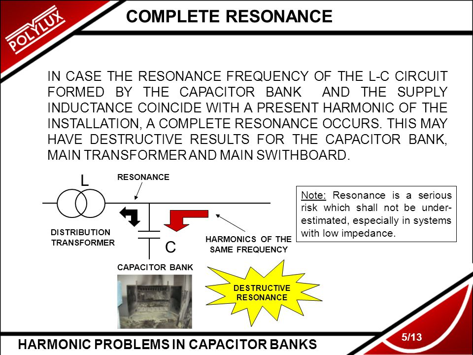 HARMONIC PROBLEMS IN CAPACITOR BANKS 5/13 COMPLETE RESONANCE IN CASE THE RESONANCE FREQUENCY OF THE L-C CIRCUIT FORMED BY THE CAPACITOR BANK AND THE S