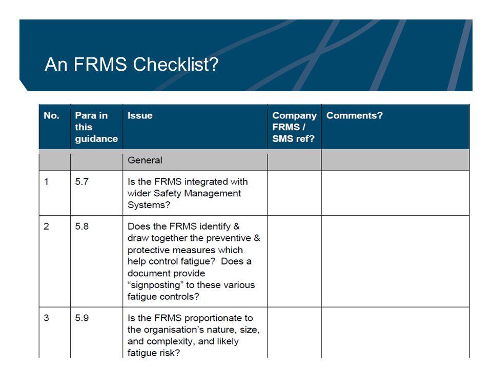 11 An FRMS Checklist?