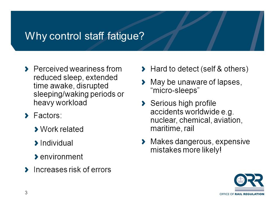 3 Why control staff fatigue? Perceived weariness from reduced sleep, extended time awake, disrupted sleeping/waking periods or heavy workload Factors: