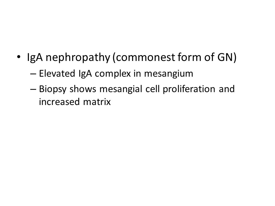 IgA nephropathy (commonest form of GN) – Elevated IgA complex in mesangium – Biopsy shows mesangial cell proliferation and increased matrix