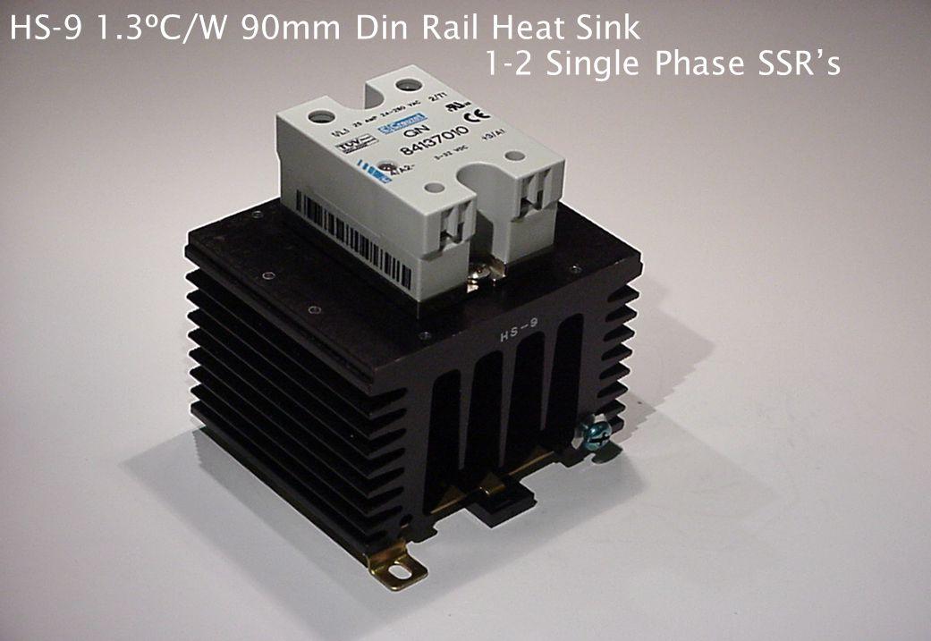 "HS-8 2.1ºC/W 45mm Din Rail Heat Sink Single Phase SSR's Crouzet 84060001 ""Smart Module"" mounted to GN Series SSR"