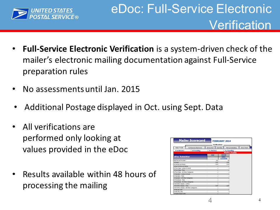 ® 4 4 eDoc: Full-Service Electronic Verification Full-Service Electronic Verification is a system-driven check of the mailer's electronic mailing documentation against Full-Service preparation rules No assessments until Jan.