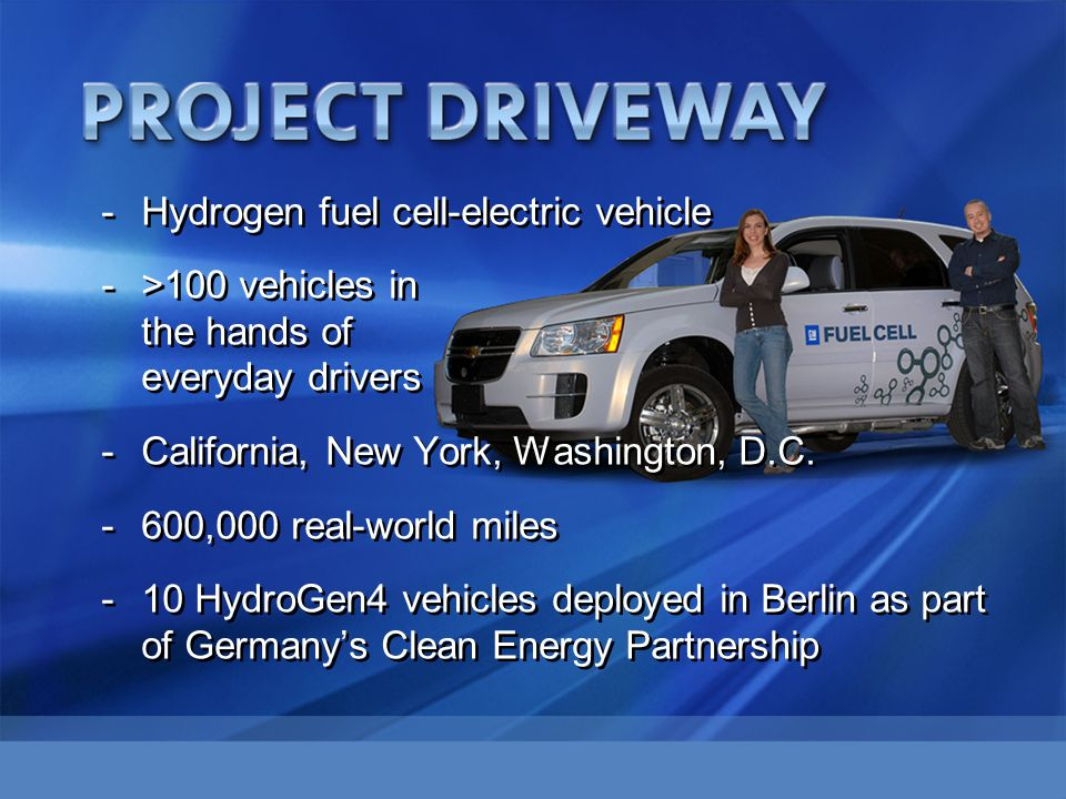 -Hydrogen fuel cell-electric vehicle ->100 vehicles in the hands of everyday drivers -California, New York, Washington, D.C. -600,000 real-world miles