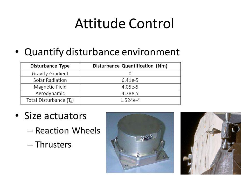 Attitude Control Quantify disturbance environment Size actuators – Reaction Wheels – Thrusters Disturbance TypeDisturbance Quantification (Nm) Gravity Gradient0 Solar Radiation6.41e-5 Magnetic Field4.05e-5 Aerodynamic4.78e-5 Total Disturbance (T d )1.524e-4