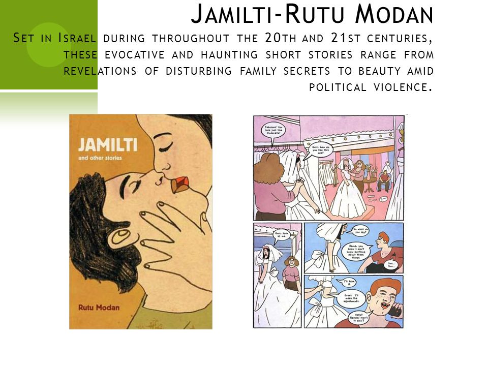 J AMILTI -R UTU M ODAN S ET IN I SRAEL DURING THROUGHOUT THE 20 TH AND 21 ST CENTURIES, THESE EVOCATIVE AND HAUNTING SHORT STORIES RANGE FROM REVELATIONS OF DISTURBING FAMILY SECRETS TO BEAUTY AMID POLITICAL VIOLENCE.