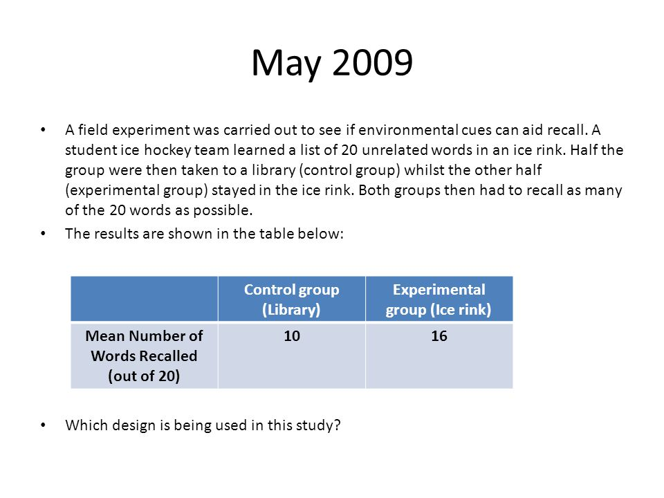 May 2009 A field experiment was carried out to see if environmental cues can aid recall.