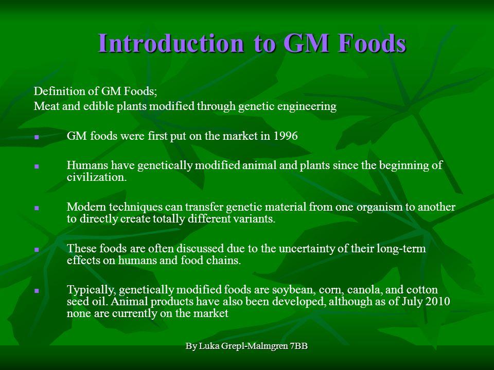 By Luka Grepl-Malmgren 7BB GM Foods