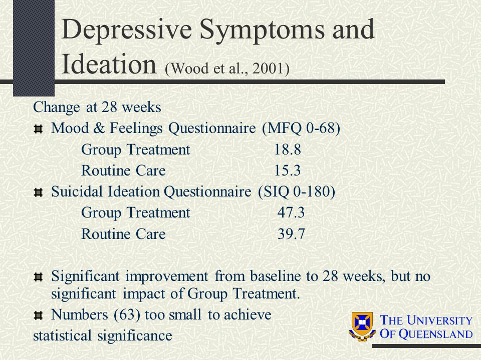 Depressive Symptoms and Ideation (Wood et al., 2001) Change at 28 weeks Mood & Feelings Questionnaire (MFQ 0-68) Group Treatment18.8 Routine Care15.3 Suicidal Ideation Questionnaire (SIQ 0-180) Group Treatment 47.3 Routine Care 39.7 Significant improvement from baseline to 28 weeks, but no significant impact of Group Treatment.