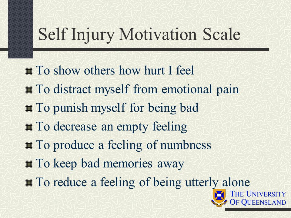 Self Injury Motivation Scale To show others how hurt I feel To distract myself from emotional pain To punish myself for being bad To decrease an empty
