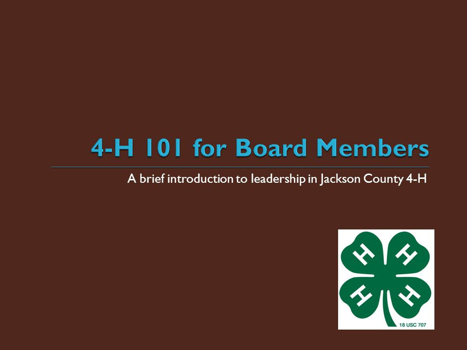 A brief introduction to leadership in Jackson County 4-H