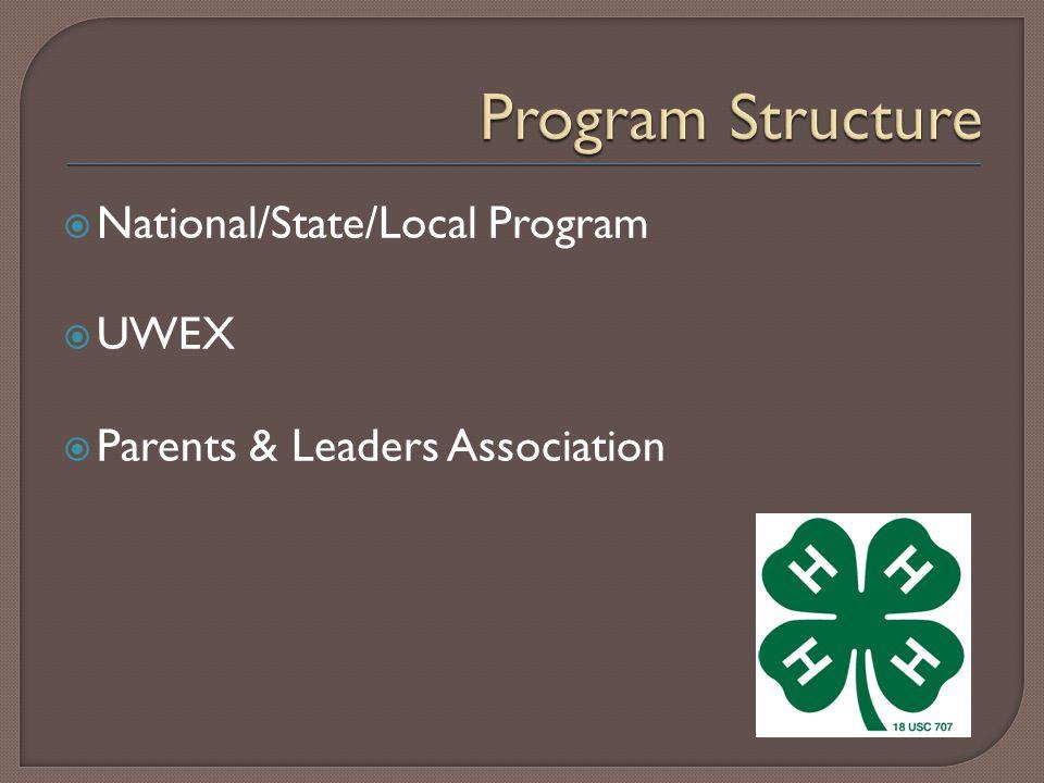  National/State/Local Program  UWEX  Parents & Leaders Association