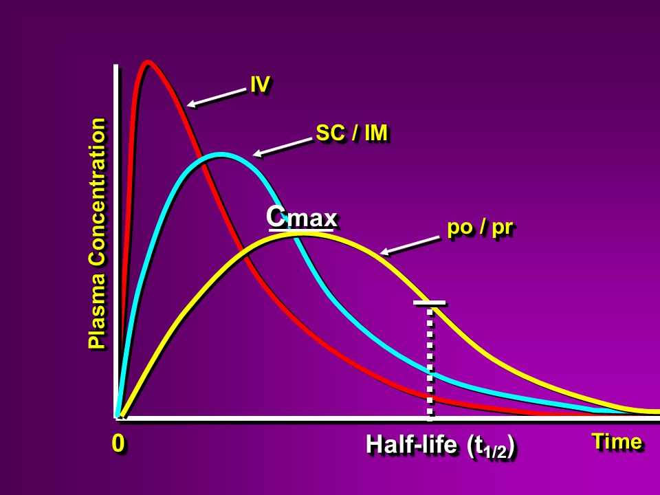 Plasma Concentration 00 Half-life (t 1/2 ) TimeTime IVIV po / pr SC / IM C max