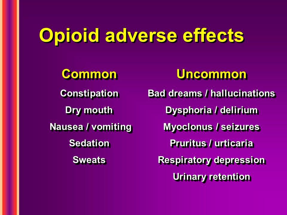 Opioid adverse effects CommonUncommon ConstipationBad dreams / hallucinations Dry mouthDysphoria / delirium Nausea / vomitingMyoclonus / seizures Seda