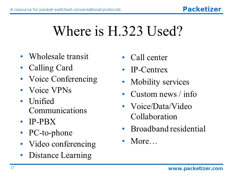 www.packetizer.com A resource for packet-switched conversational protocols 17 Packetizer TM Where is H.323 Used.
