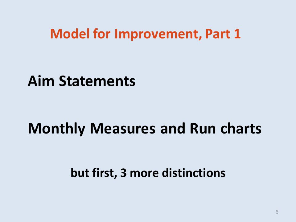 Model for Improvement, Part 1 Aim Statements Monthly Measures and Run charts but first, 3 more distinctions 6