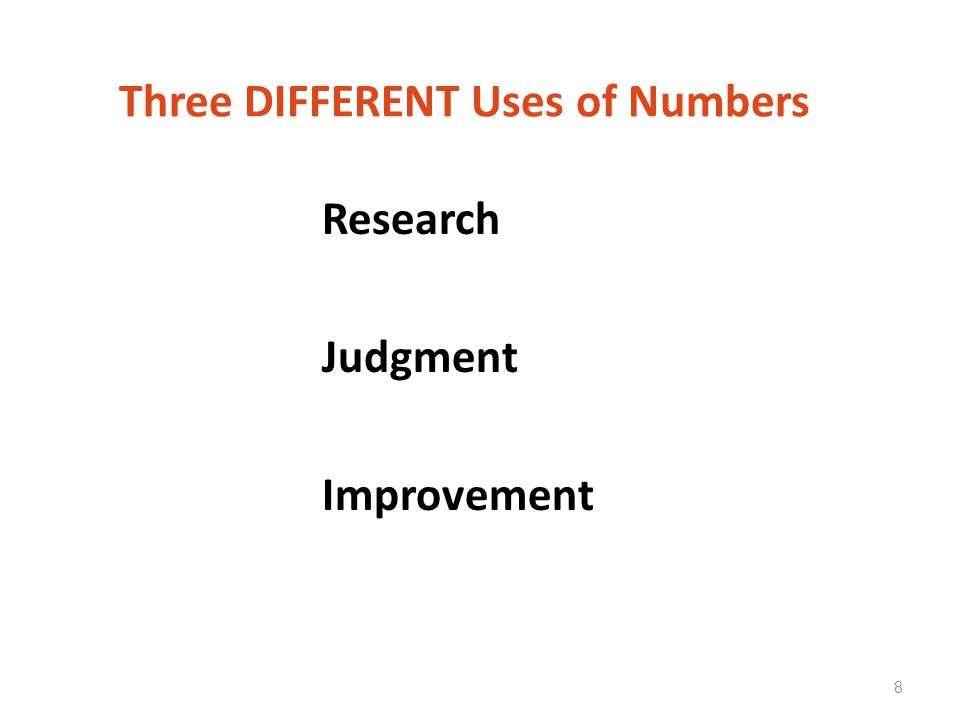 Three DIFFERENT Uses of Numbers Research Judgment Improvement 8