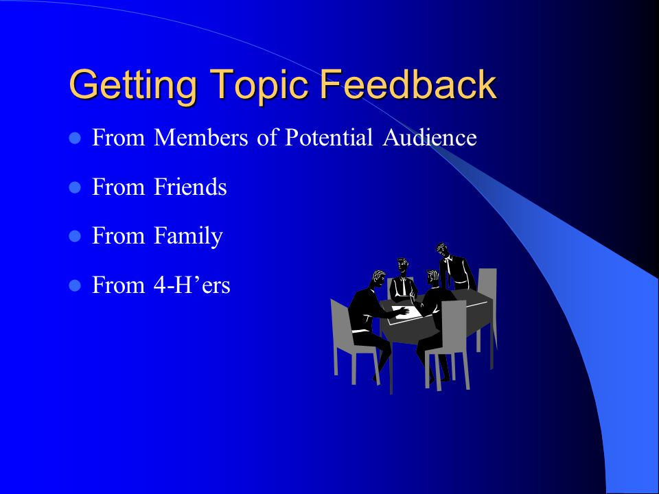 Getting Topic Feedback From Members of Potential Audience From Friends From Family From 4-H'ers
