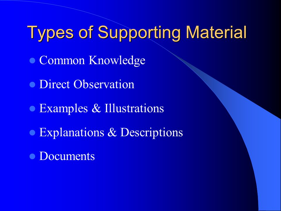 Types of Supporting Material Common Knowledge Direct Observation Examples & Illustrations Explanations & Descriptions Documents