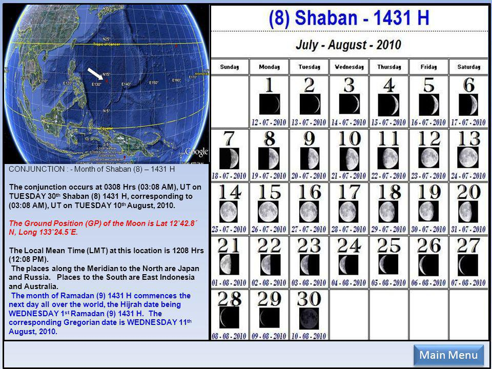 CONJUNCTION : - Month of Shaban (8) – 1431 H The conjunction occurs at 0308 Hrs (03:08 AM), UT on TUESDAY 30 th Shaban (8) 1431 H, corresponding to (03:08 AM), UT on TUESDAY 10 th August, 2010.
