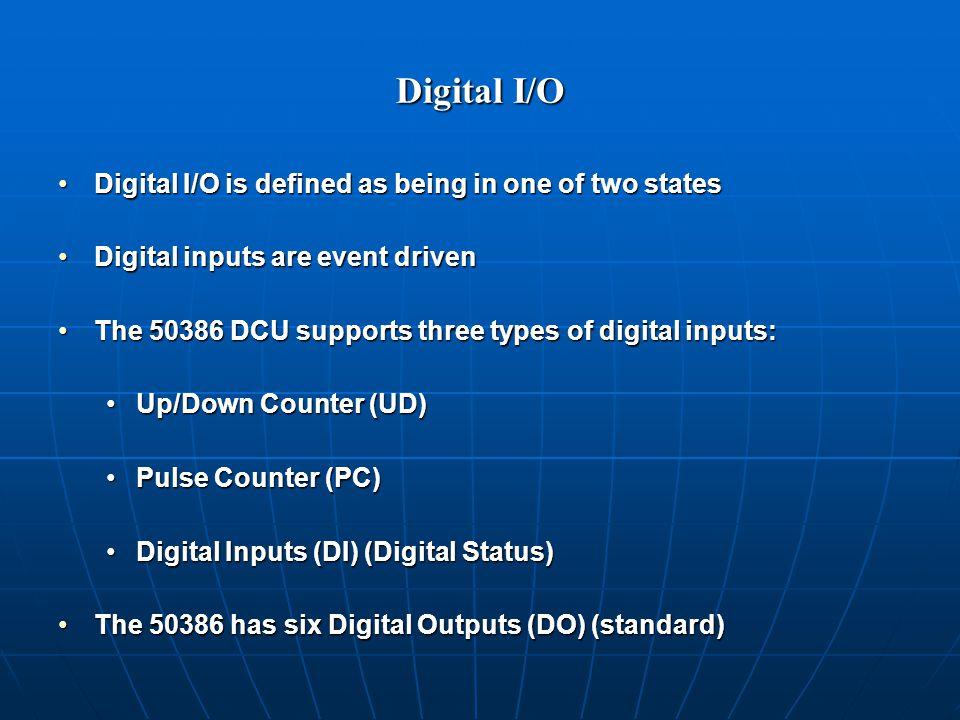 Digital I/O Digital I/O is defined as being in one of two statesDigital I/O is defined as being in one of two states Digital inputs are event drivenDigital inputs are event driven The 50386 DCU supports three types of digital inputs:The 50386 DCU supports three types of digital inputs: Up/Down Counter (UD)Up/Down Counter (UD) Pulse Counter (PC)Pulse Counter (PC) Digital Inputs (DI) (Digital Status)Digital Inputs (DI) (Digital Status) The 50386 has six Digital Outputs (DO) (standard)The 50386 has six Digital Outputs (DO) (standard)