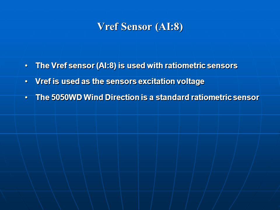 Vref Sensor (AI:8) The Vref sensor (AI:8) is used with ratiometric sensorsThe Vref sensor (AI:8) is used with ratiometric sensors Vref is used as the sensors excitation voltageVref is used as the sensors excitation voltage The 5050WD Wind Direction is a standard ratiometric sensorThe 5050WD Wind Direction is a standard ratiometric sensor
