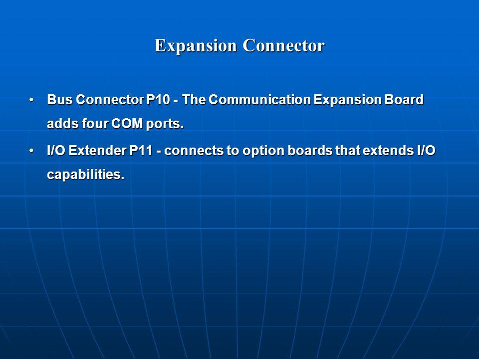 Expansion Connector Bus Connector P10 - The Communication Expansion Board adds four COM ports.Bus Connector P10 - The Communication Expansion Board adds four COM ports.