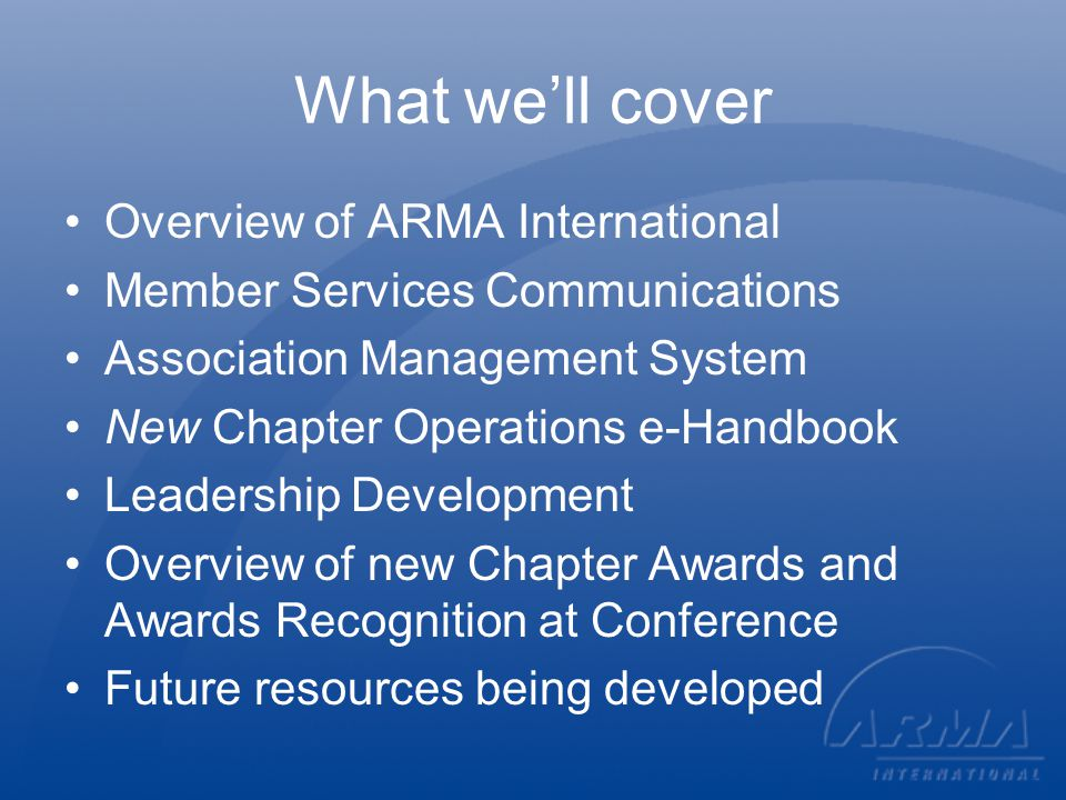 ARMA Structure and Governing Documents IRS - 501(c)(6) ARMA International, its chapters and regions are not exempt from paying sales tax.