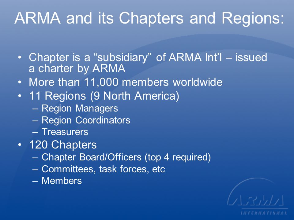 Categories of Members Basic Member (ARMA $175*) Student (ARMA $25) Retired (ARMA $25) Honorary (ARMA $0) * All dues stated in U.S.
