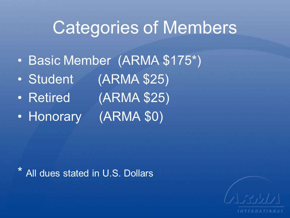 New ARMA Member Category Provisional Member One time, 6-month trial membership; no charge; offered with qualifying purchase determined by HQ; renews into Basic Member; Chapter membership not included, however will be marketing to for chapter and other offerings.