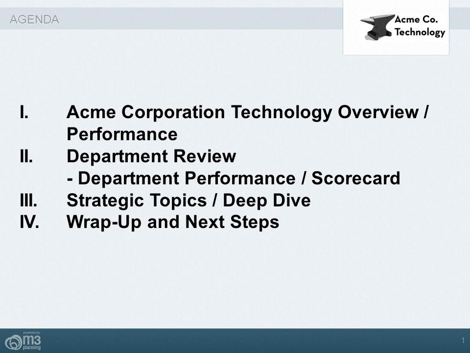 AGENDA I.Acme Corporation Technology Overview / Performance II. Department Review - Department Performance / Scorecard III.Strategic Topics / Deep Div