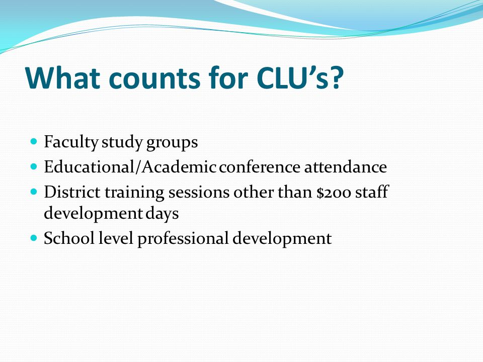What counts for CLU's.