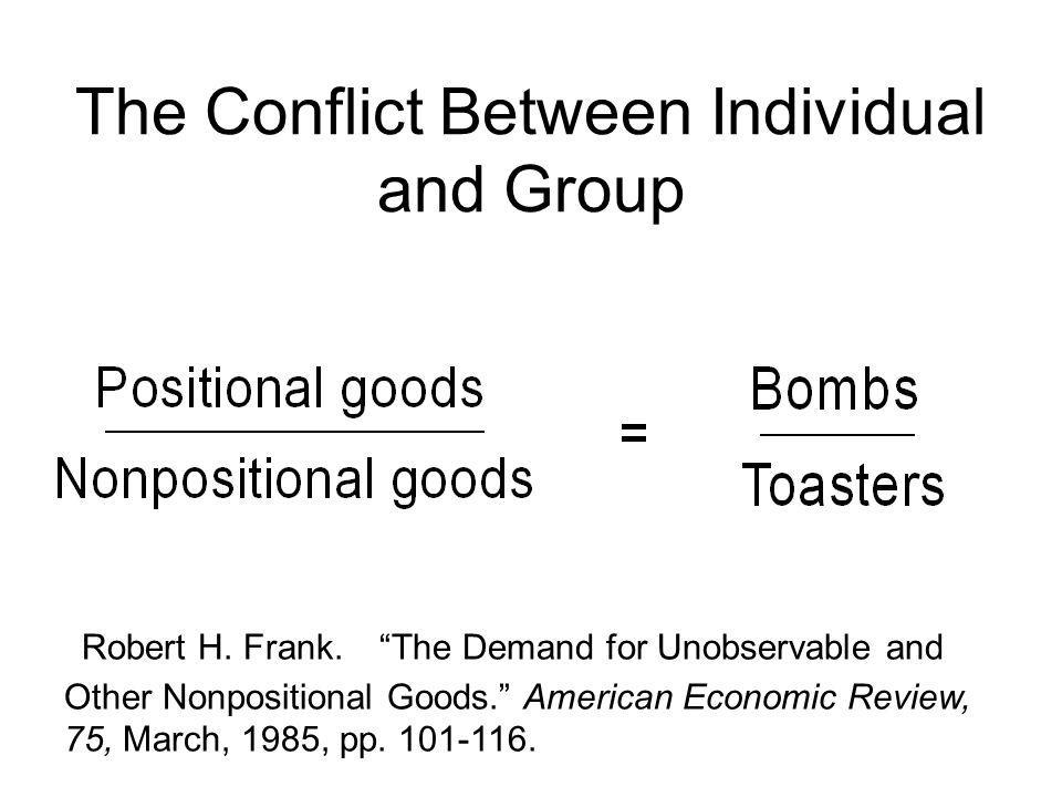 The Conflict Between Individual and Group Robert H.