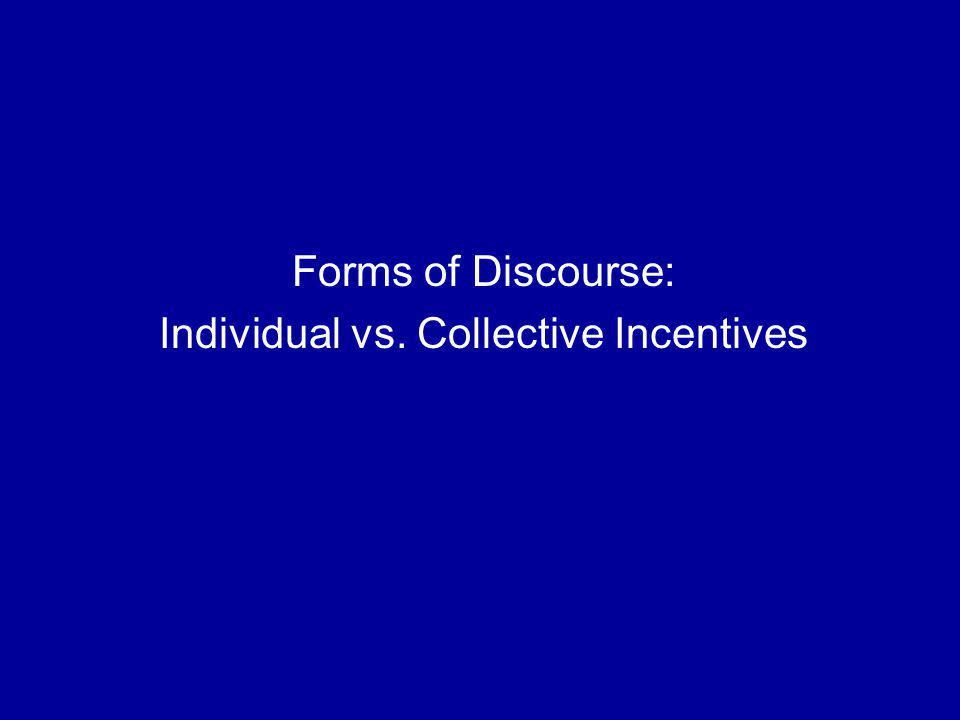 Forms of Discourse: Individual vs. Collective Incentives