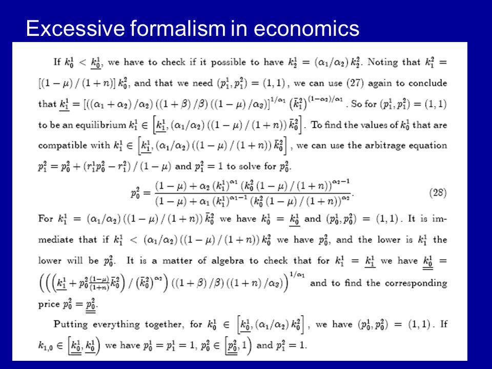Excessive formalism in economics