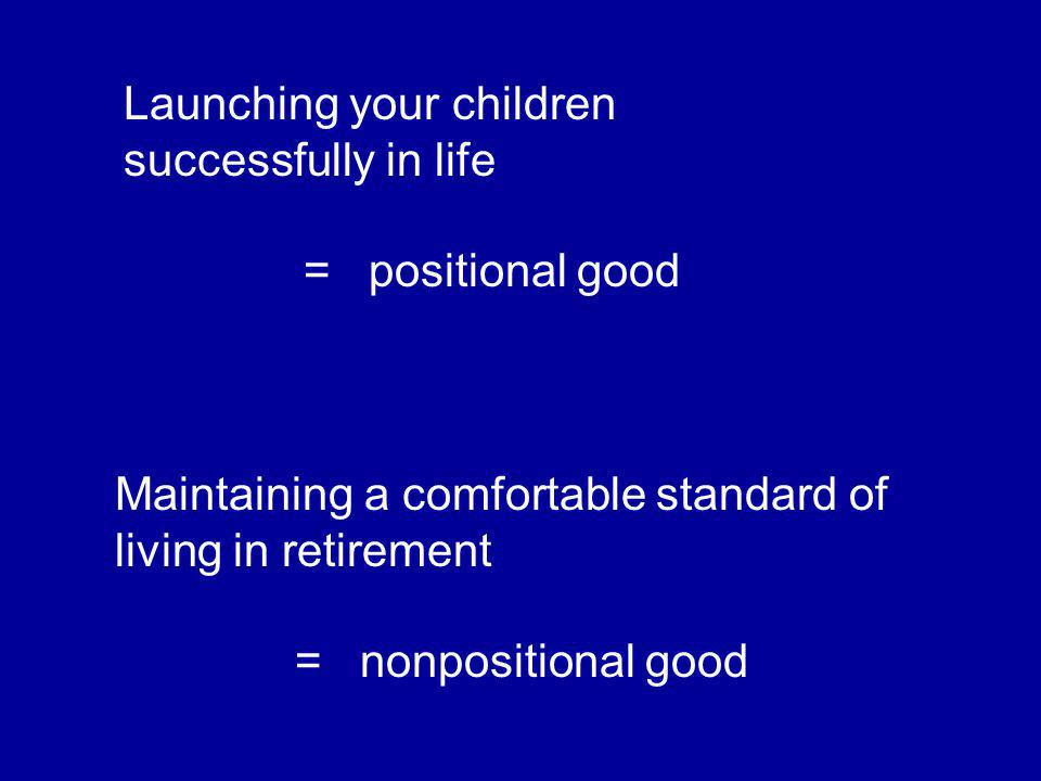 Launching your children successfully in life = positional good Maintaining a comfortable standard of living in retirement = nonpositional good