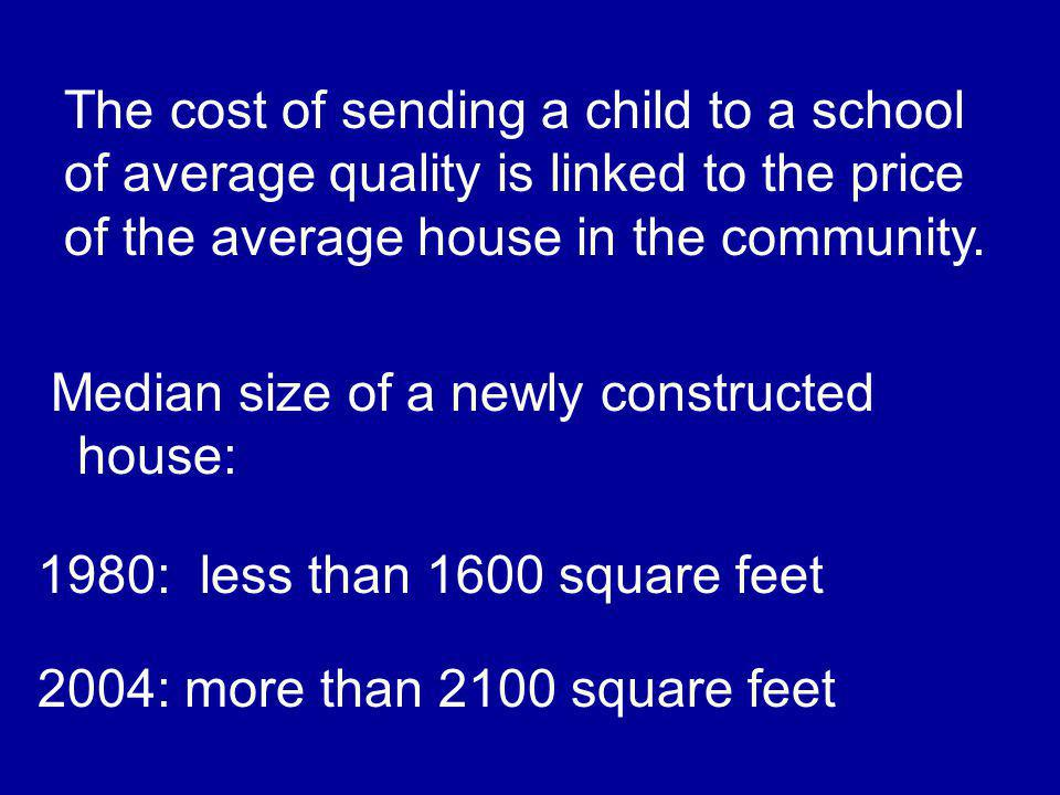 The cost of sending a child to a school of average quality is linked to the price of the average house in the community.