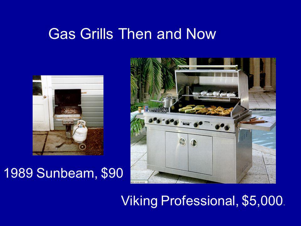 Viking Professional, $5,000. 1989 Sunbeam, $90 Gas Grills Then and Now