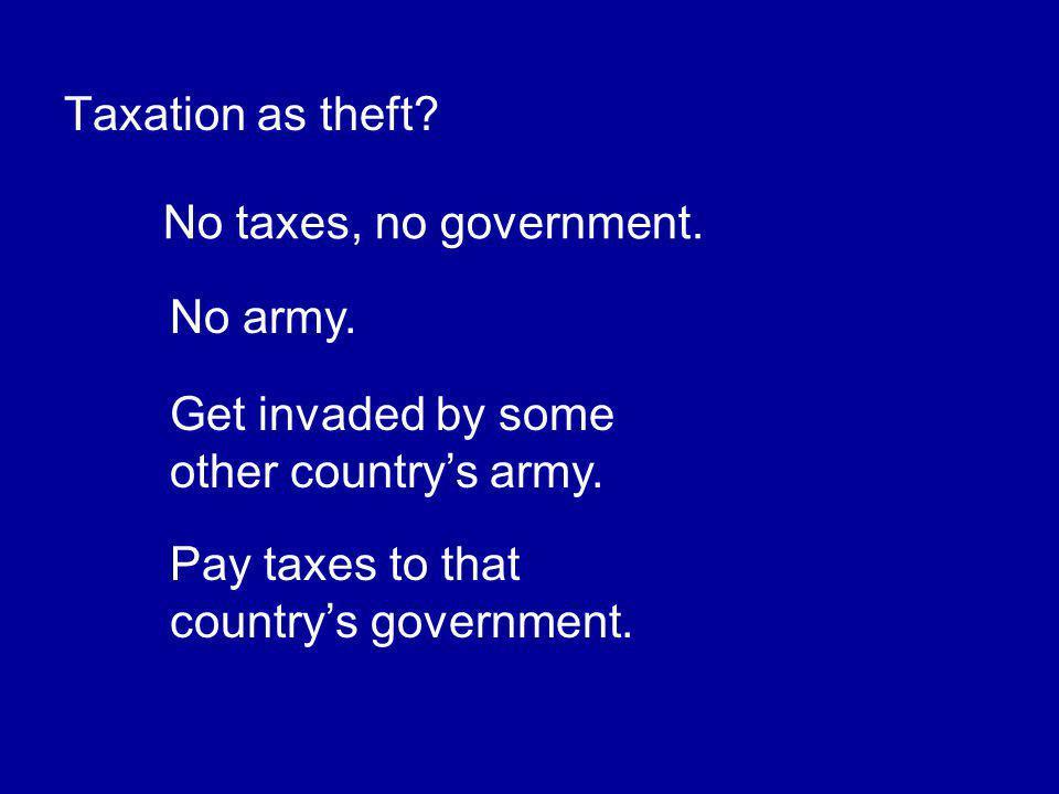 Taxation as theft. No taxes, no government. No army.