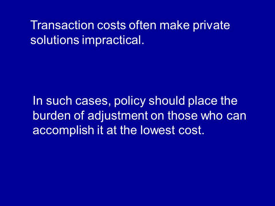 Transaction costs often make private solutions impractical.