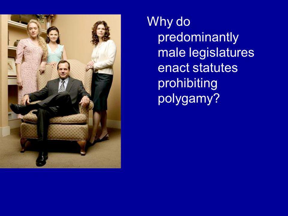 Why do predominantly male legislatures enact statutes prohibiting polygamy