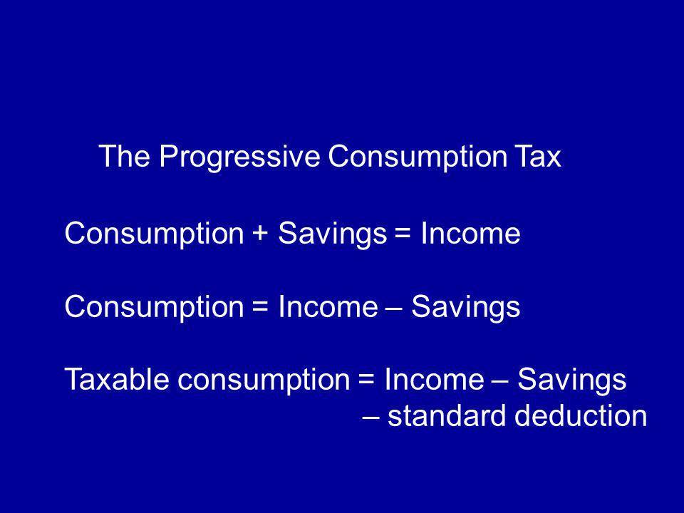The Progressive Consumption Tax Consumption + Savings = Income Consumption = Income – Savings Taxable consumption = Income – Savings – standard deduction