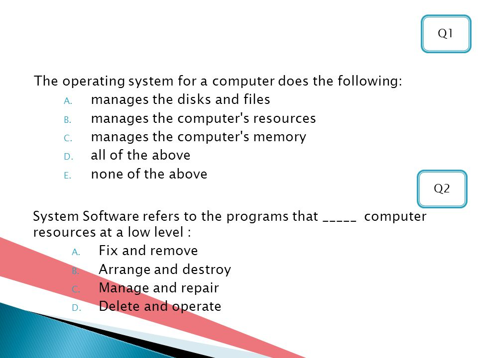 The operating system for a computer does the following: A.