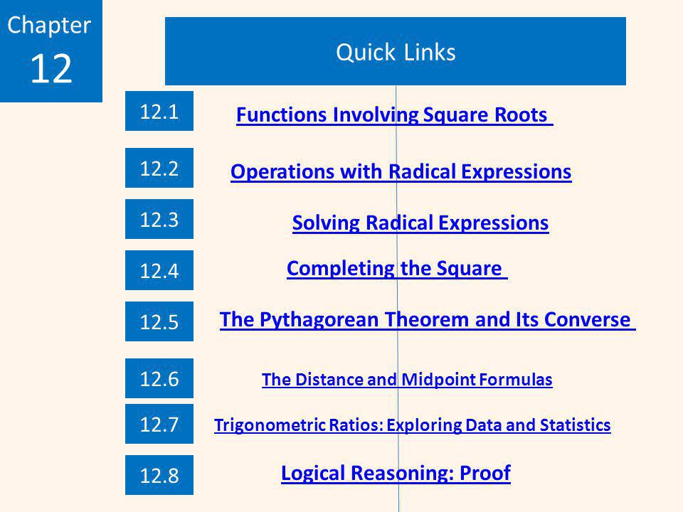 Quick Links Chapter 12 12.1 12.2 12.3 12.4 12.5 12.6 12.7 12.8 Functions Involving Square Roots Operations with Radical Expressions Solving Radical Expressions Completing the Square Logical Reasoning: Proof Trigonometric Ratios: Exploring Data and Statistics The Pythagorean Theorem and Its Converse The Distance and Midpoint Formulas