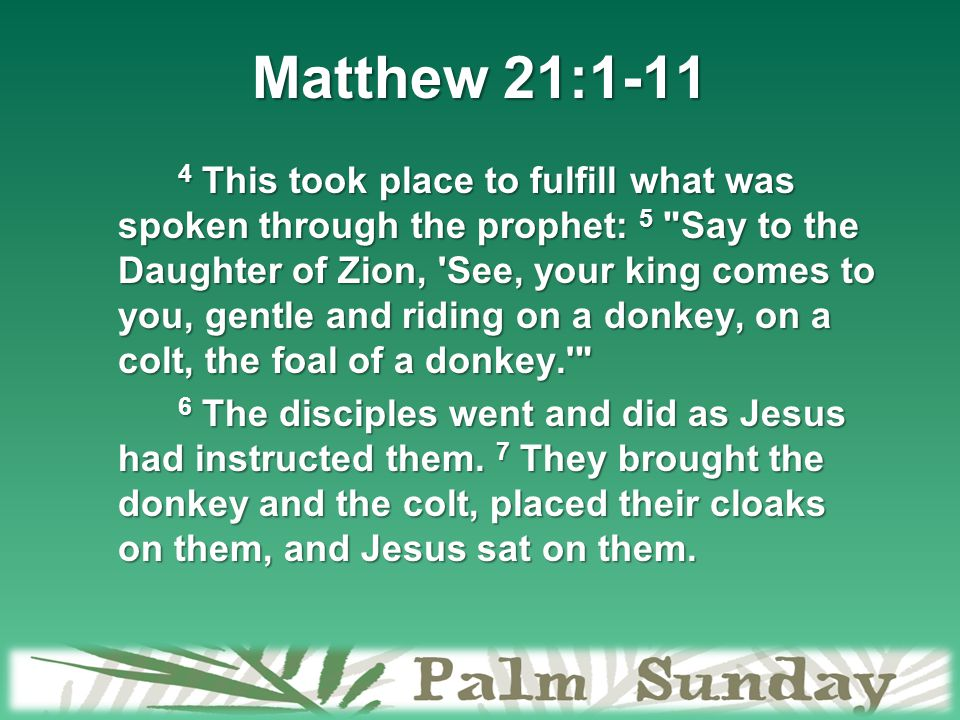 Matthew 21:1-11 4 This took place to fulfill what was spoken through the prophet: 5 Say to the Daughter of Zion, See, your king comes to you, gentle and riding on a donkey, on a colt, the foal of a donkey. 6 The disciples went and did as Jesus had instructed them.