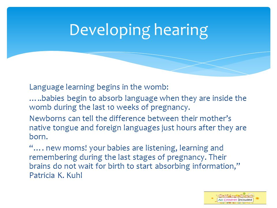 Developing hearing Language learning begins in the womb: …..babies begin to absorb language when they are inside the womb during the last 10 weeks of pregnancy.